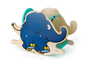 """Small Foot Design 10819 Wooden Rocker in The Shape of The Elephant from """"Die Maus"""", Fixed Backrest and Low Seat Height as well as A Practical Seat Height for Safe Rocking, Trains The Motor Skills and Coordination"""