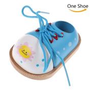 37YIMU 1 Pcs Children Educational Toy Wooden Lacing Shoe - Learn to Tie A Shoe,Blue