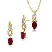 Gemondo 9ct Yellow Gold Ruby & Diamond Classic Drop Earrings & 45cm Necklace Set
