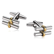 Gnzoe Men Stainless Steel Shirt Cuff Links Wedding Business Two Cylinder Bar H