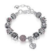 A TE® Charm Bracelet Heart Dangle Beads with White Gold Alloy #JW-B129