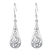 YFN Women Jewellery 925 Sterling Silver Fashion Classic Filigree Teardrop Dangle Drop Earrings