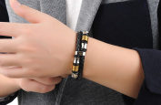 Ostan Men's Elegant Stainless Steel and Leather Rope Braided Bracelet for Men