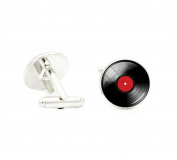 Vinyl Record Cufflinks DJ for Men Retro Music Art Cuff Link Round Dome Glass cabochon jewellery