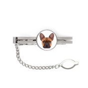 French Bulldog, tie pin, clip with an image of a dog, elegant, geometric