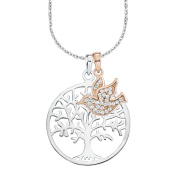 Amor Women's Chain with Pendant Tree of Life 925 Silver partially gold-plated Zirconia White 45 cm 2012666