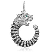 Panther Pendant 925 Silver and White Crystal Zirconia CRY J201 X - Blue Pearls