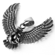 MENDINO Mens Stainless Steel Pendant American Eagle Hawk Wings Feather Biker Silver Colour With 60cm Link Chain Necklace