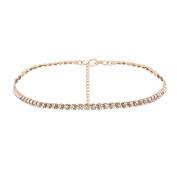 Yiwa Women Fashion Rhinestone Choker Simple Diamante Necklace Alloy Thin Neck Chain Gift