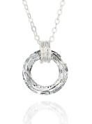 Original Circle Crystal Ring Pendant 925 Sterling Silver Necklace, 46cm + 10cm Extender