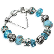 A TE® Charm Bracelet Blue Murano Glass Crystal Beads with Safety Chain #JW-B94