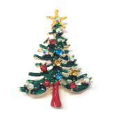 *UK* Silver-Tone Thin Green Tree With Yellow Star Brooch 3.5 x 5.0cm Traditional Christmas Pin With Coloured Rhinestone Baubles