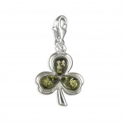 Amber Clover Leaf Sterling Silver Clip-On Charm - For Thomas Sabo Style Charm Bracelets