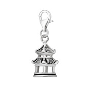Quiges 925 Sterling Silver 3D Japanese Temple Clip On Charm Pendant