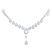 Happy Source Wedding Hair Jewellery Silver-Tone Crystal Water Drop Forehead Chain Tiara Bridal Headpieces