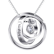 "Gift for Mum, Sterling Silver Necklace ""Mum I Love You "" and ""Mum,Thank you for all you do"" Three Ring Pendant Jewellery for Mum"