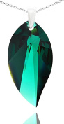 Royal Crystals Sterling Silver Made with Crystals Green Leaf Teardrop Pendant Necklace,46cm