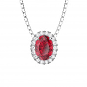 Eternity Ruby and Diamond Silver Pendant