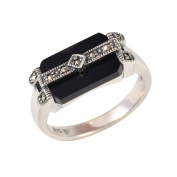 Esse Marcasite Sterling Silver Black Onyx and Marcasite Art Deco Ring