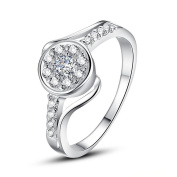 New Design Jewellery 925Solid Silver . Crystal Ring + Box