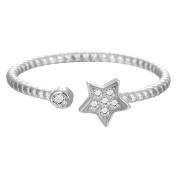 Elegant Lucky Crystal Star Ring for Women Girls Birthday Gift 925 Sterling Silver Bijoux