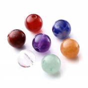 QGEM 7 Chakra Beads, Drilled Round Loose Beads, Healing Crystals for Jewellery Making DIY
