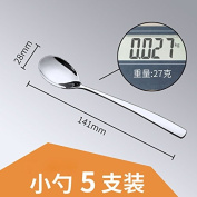 Stainless Steel Spoon Adult Children Long-Handled Spoon Rice Spoon Cutlery 5 Installed, 5 Spoons