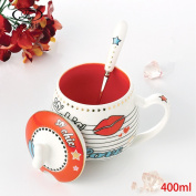 Creative coffee cup set ceramic mug / cute cup / couple coffee mug, with cover spoon Personal home,E