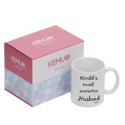 KEMUG - Funny Husband Gift Mug - World's Most Awesome Husband 330ml Ceramic Coffee Mug White