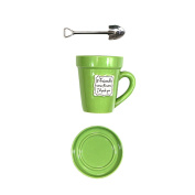 Just Contempo Novelty 'If friends were flowers I'd pick you' Mug Flower Pot with Saucer and Spade Stirrer - Green, 350ml