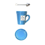 Just Contempo Novelty 'My garden is my happy place' Mug Flower Pot with Saucer and Spade Stirrer - Blue, 350ml