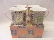 Set of 4 gift boxed China Palace Mugs in assorted India designs
