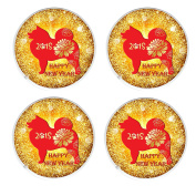 FOUR Chinese New Year 2018 Year of the Dog Round Drinks Mug Coaster Chinese New Year Gift Idea, February 16th 2018