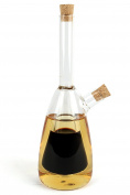 2 in 1 Olive Oil Dispenser And Vinegar Bottle, Clear Glass Traditional Design Condiment Cruet