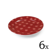 cartaffini – Fruit Plate Alpine, with Snowflakes, Red – Diameter 21.2 cm – Melamine with Real Fabric Decoration