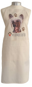 Chinese Crested (b) Breed of Dog Themed Natural Cream Cotton Bib Apron - Baker Cook Gift