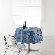 Douceur d 'Intérieur Round Table Cloth, Polyester, 180 x 180 cm, Indigo