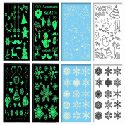 8 Sheets Christmas Temporary Tattoos Kit Merry Christmas Stickers Temporary Tattoos For Kids Party Boys and Girls Different Patterns