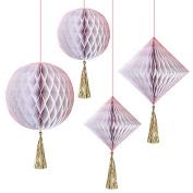 iridescent Honeycomb Decorations, meri meri party decorations, pink and gold hanging decorations