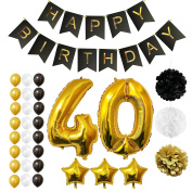 40th Happy Birthday Party Balloons, Supplies & Decorations by Belle Vous - All-in-One Set - Large 40 Years Foil Balloon Gold, White and Black Latex Balloon Decoration - Decor Suitable for All Adults