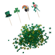 Sharplace Funny St Patrick's Day Party Cupcake Food Picks Cake Toppers and Metallic Party Table Confetti Sets