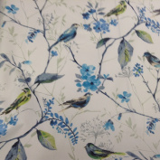 Skylark Bird Song Larkspur Blue Cotton Curtain Designer Material Sewing Upholstery Curtain Craft Fabric