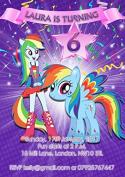 10 x Personalised My Little Pony Children Birthday Party Invitations