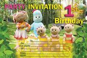 10 x In the night garden Children Birthday Party Invitations
