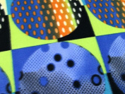 Circle in Square Print Fleece Fabric Royal Multi - per metre