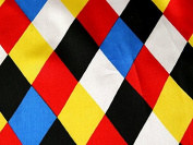 Harlequin Diamonds Print Satin Dress Fabric Multicoloured - per metre