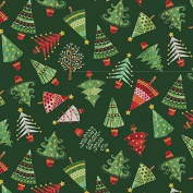 Cotton Fabric - Metre - Makower - Christmas Traditional Metallic - Trees Green