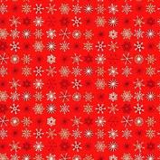 Cotton Fabric - Fat Quarter - Makower - Christmas Traditional Metallic - Snowflakes Red