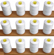 12 White Sewing Overlocking 100% pure Cotton Threads for Sewing Machines / Hand Stitching 1,000 Yards Each - Ideal for Sewing, Quilting and much more use.
