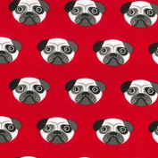 Pug Print Polycotton Fabric Material Craft Textile - Red